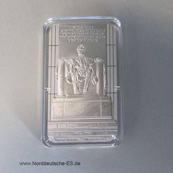 Niue Island 1 oz Silber Lincoln Memorial 5 Dollars 2015
