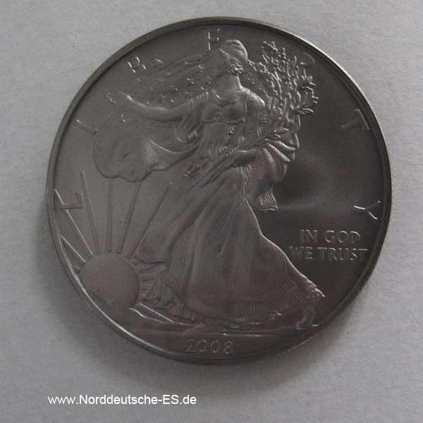 USA One Dollar Liberty 1 oz Feinsilber Ruthenium veredelt