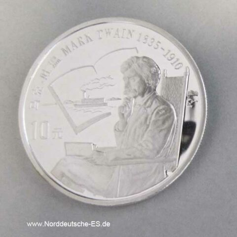 10 Yuan Silbermünze 1991 Mark Twain