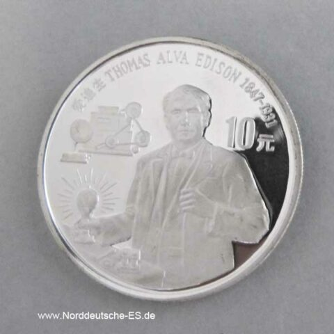China 10 Yuan Silbermünze 1990 Thomas Alva Edison