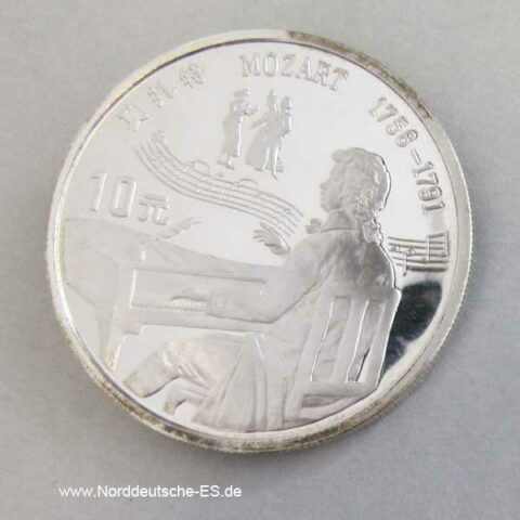 China 10 Yuan Silbermünze 1991 Mozart