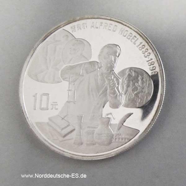 China 10 Yuan Silbermünze 1992 Alfred Nobel