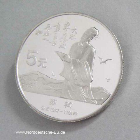 China 5 Yuan 1988 Silbermünze Su Shi Dichter