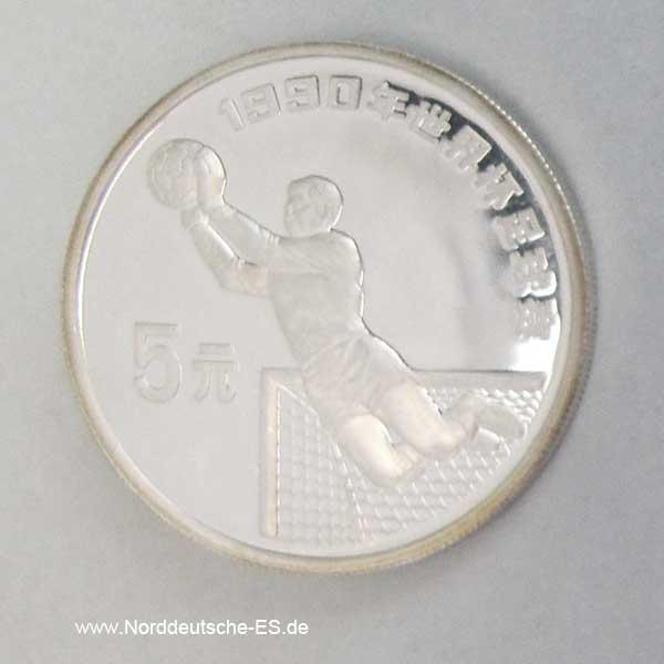 China 5 Yuan Silbermünze Fussball 1990