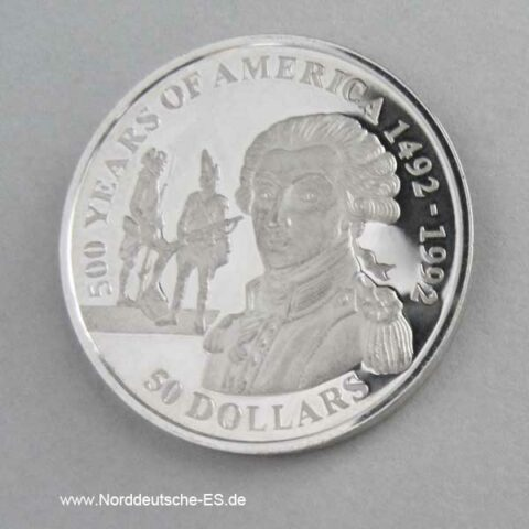 Cook Islands 50 Dollars 500 Jahre Amerika 1991 Marquis de La Fayette
