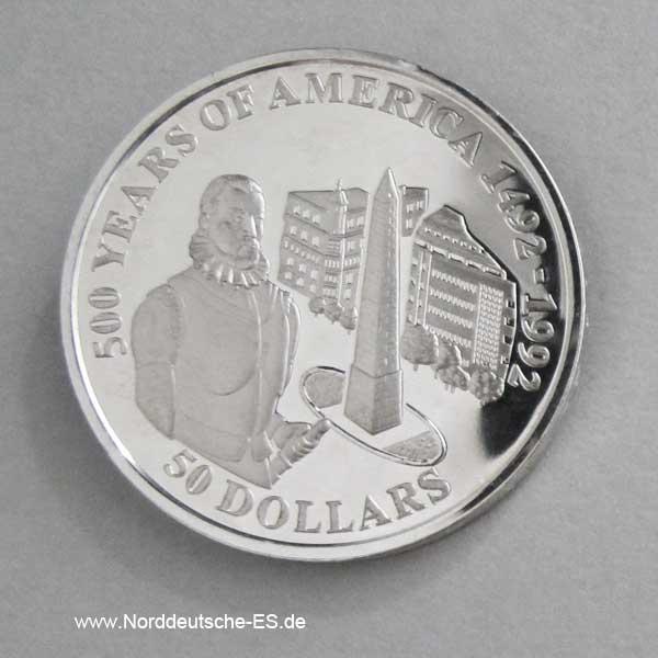 Cook Islands 50 Dollars 1992 Pedro de Mendoza