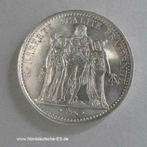 Frankreich 10 Francs Silbermünze Herkulesgruppe 1965-1973