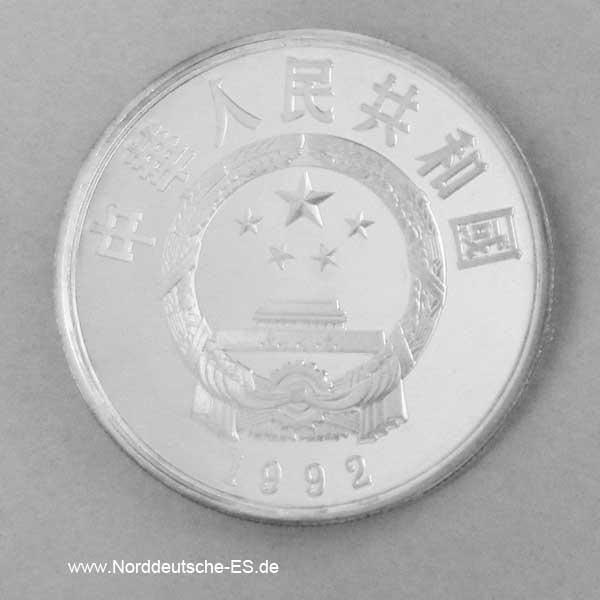 China 5 Yuan Silbermünze 1992
