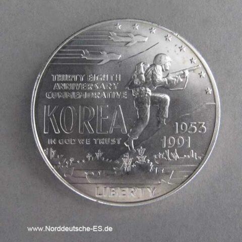 USA 1 Dollar Silbermünze Ende Koreakrieg 1991