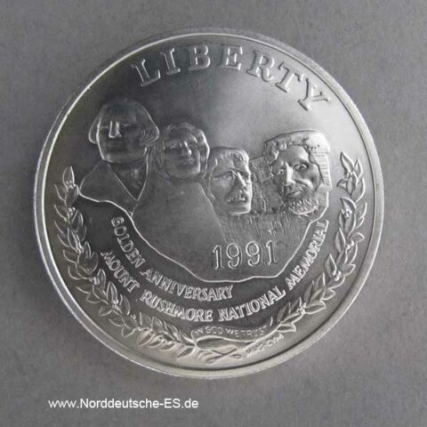 USA 1 Dollar 1991 Silbermünze 50 Jahre Mount Rushmore