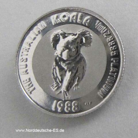 Australien Koala 1_10 oz Platin 15 Dollars 1988