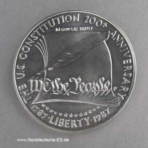 USA 1 Dollar 200 Jahre Verfassung Silbermünze 1987