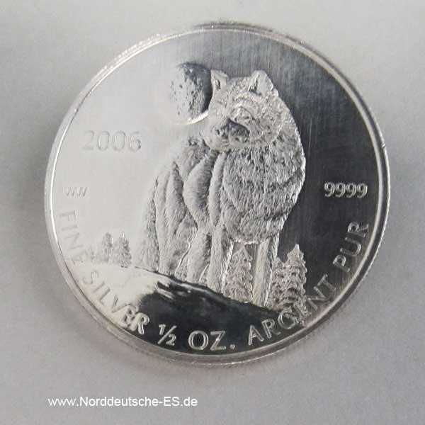 Silbermünze Wolf 1 Dollar 2006