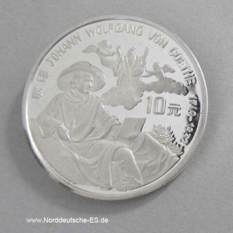 China 10 Yuan Silbermünze 1992 Goethe