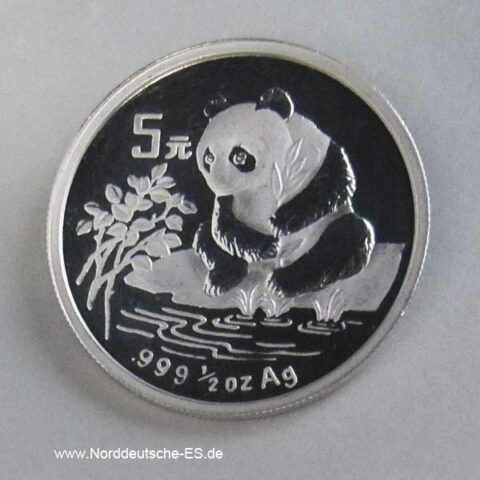 China Panda 1_2 oz Silbermünze 5 Yuan 1996