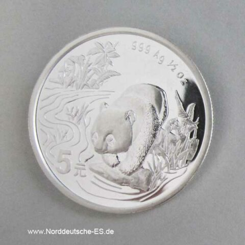 China Panda 1_2 oz Silbermünze 5 Yuan 1997