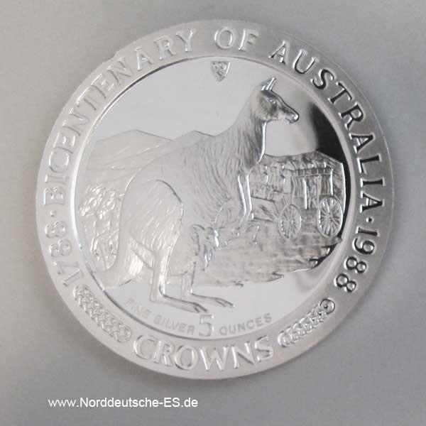 Isle of Man Silber 5 CrownsBicentenary Australien 1788-1988 Kangaroo