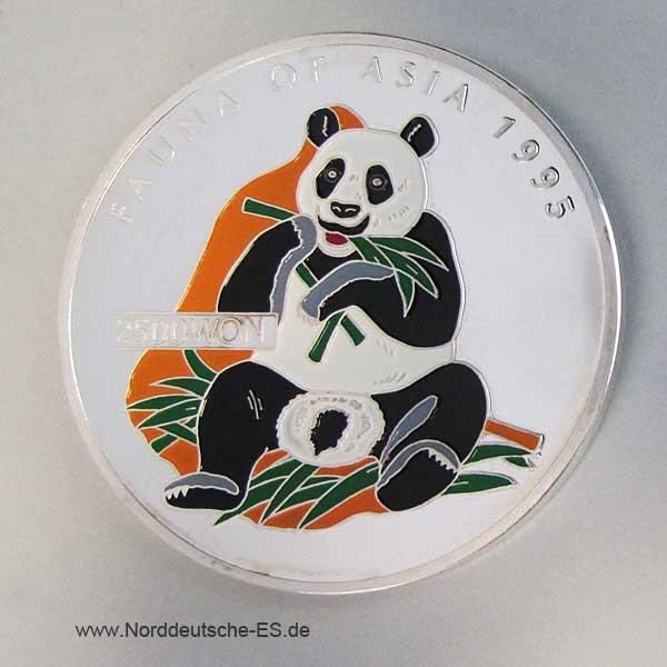 Korea 2500 Won 5 oz Feinsilber Panda farbig 1995