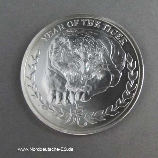 Somaliland 1 oz Silbermünze Lunar Tiger 2010