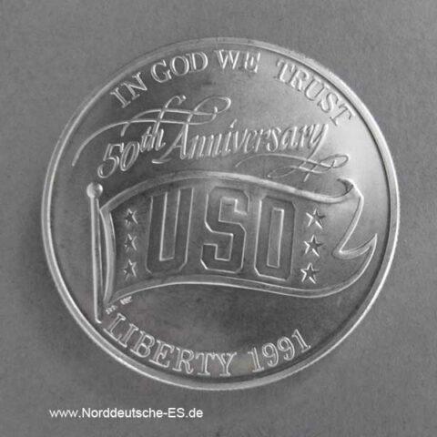 USA 1 Dollar 1991 Silbermünze 50 Jahre USO