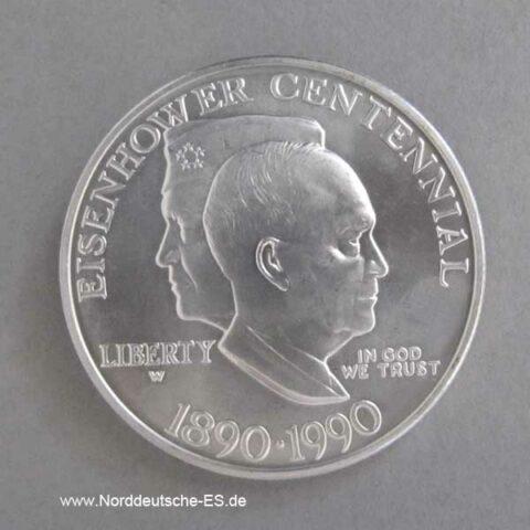 USA 1 Dollar Silbermünze Eisenhower Centennial 1990