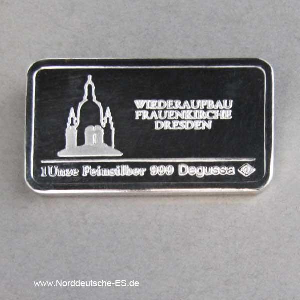 1 oz Wiederaufbau Frauenkirche Dresden Silberbarren