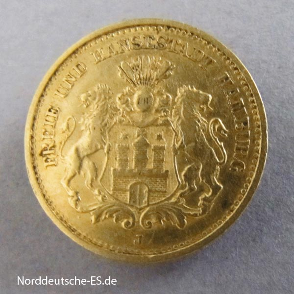 Deutsches Kaiserreich 5 Mark Freie und Hansestadt Hamburg 1877 J