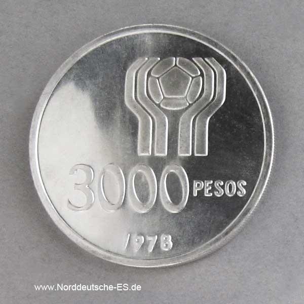 Argentinien 3000 Pesos 1977-1978 Fußball-Weltmeisterschaft