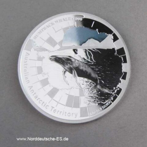 Australien 1 oz Silber Antarctic Territory Humpback Whale 2008 mit Farbapplikation