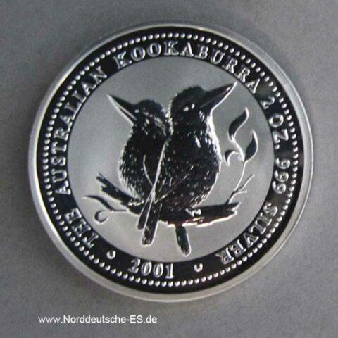 Australien 2 Unzen Silber 2 Dollars Kookaburra 2001