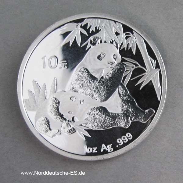 China Panda 1 oz Silber 2007