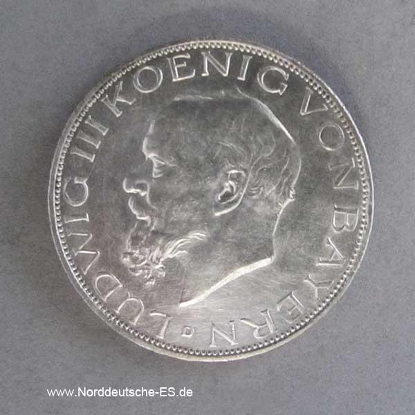 Deutsches Reich Drei Mark Silber Ludwig III König von Bayern 1913-1918