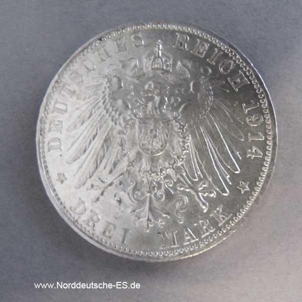 Drei Mark Silber 1914 Ludwig III König Bayern