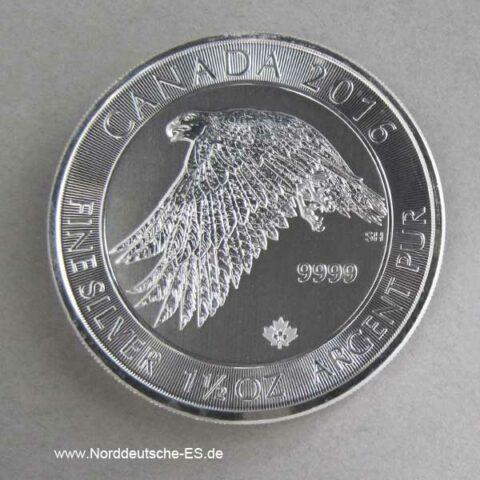Kanada 1_5 oz Schneefalke 2016 Silbermünze 8 Dollars