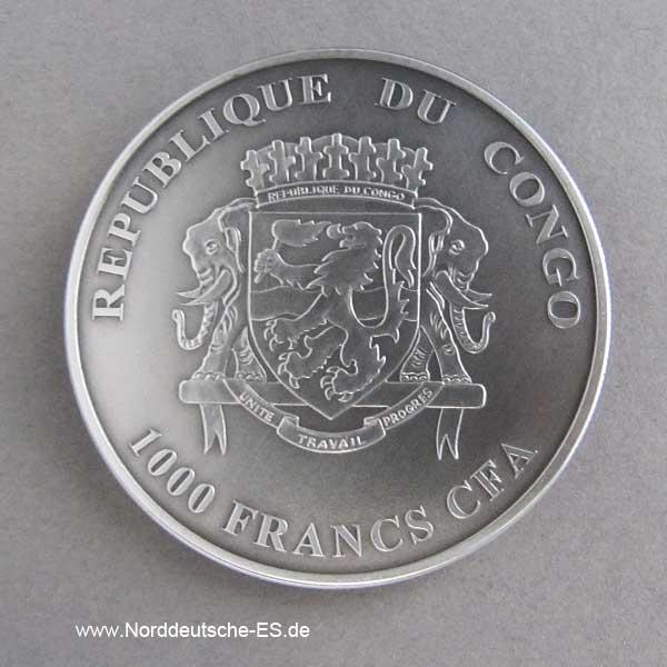 Kongo 1 oz Silber Antique Finish 1000 Francs Baby Lions 2012