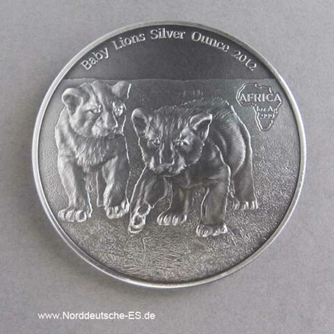 Kongo 1 oz Silber Antique Finish 1000 Francs Baby Lions 2012