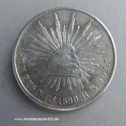 Mexiko Republik Guanajuato Mint 1899 GoRS 1 Peso Silbermünze