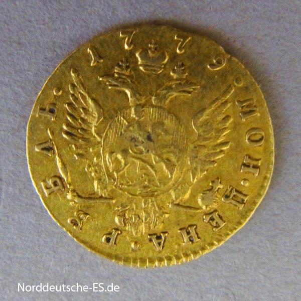 Russland 1 Rubel Katharina II Goldmünze 1779