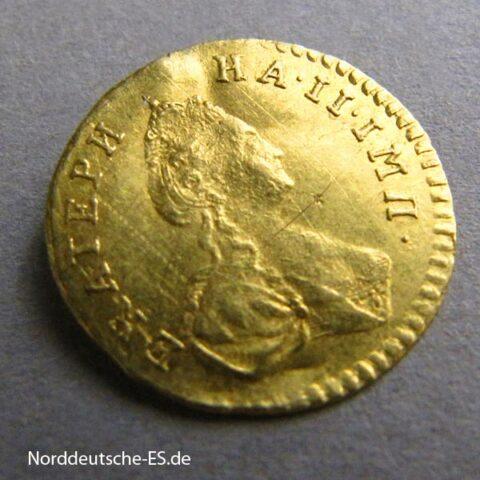 Russland 1_2 Rubel 1 Poltina Katharina II Goldmünze 1777