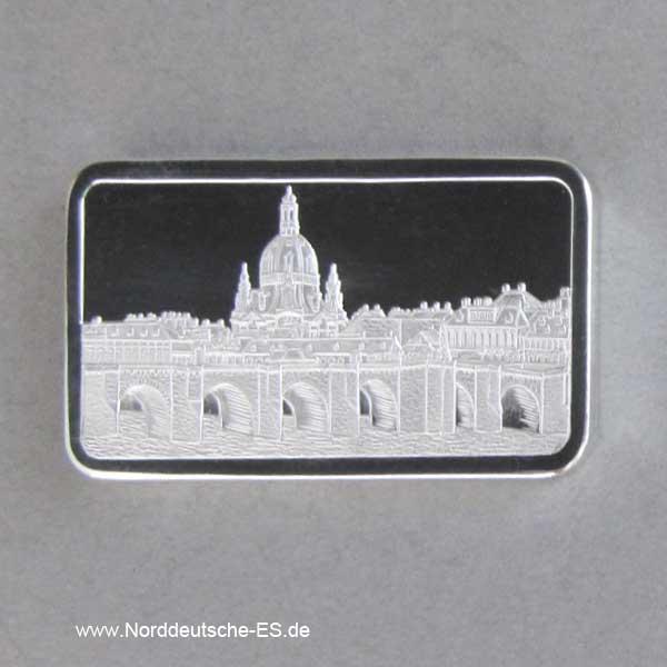 Silberbarren 1 oz Wiederaufbau Frauenkirche Dresden Albertbrücke