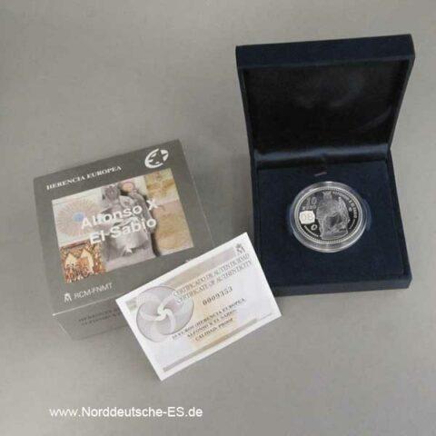 Spanien 10 Euro Alfonso X El Sabio 2008 OVP Zertifikat