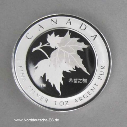 Kanada 1 oz Silber 5 Dollars Maple Leaf of Hope 2005