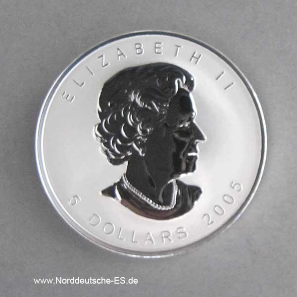 Kanada 1 oz Silber 5 Dollars Maple Leaf of Hope 2005