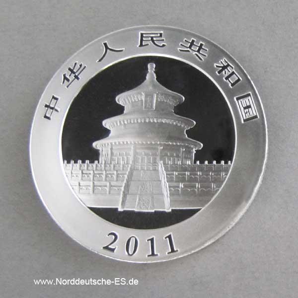 China Panda 1 oz Silber 10 Yuan 2011