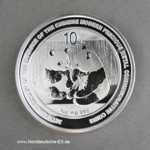 China Panda 1 oz Silber 10 Yuan 2009