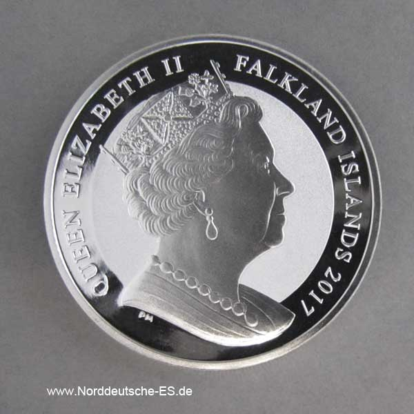 Falkland Islands 1 Crown Britannia 1 oz Silbermünze 2017