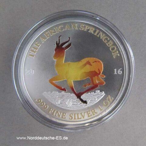 Gabun 1 oz Silber farbig 1000 Francs Afrikanischer Springbock 2016