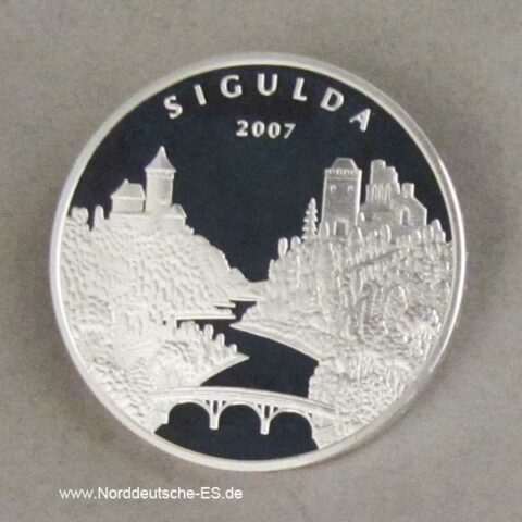 Lettland 1 Lats Silbermünze Sigulda 2007