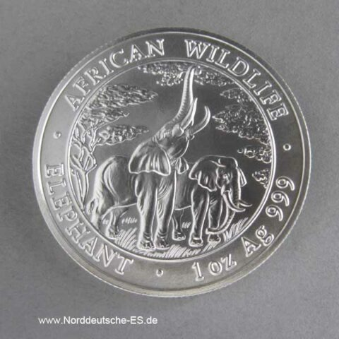 Sambia African Wildlife 1 oz Elephant 2003 matt Stempelglanz