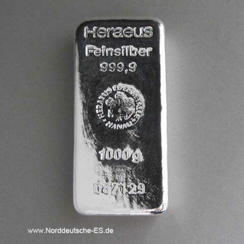 Silberbarren 1 Kilogramm Heraeus 1Kg Feinsilber 999